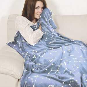 Kuscheldecke Couchdecke leuchtend Blau-Grau meliert Sternenhimmel