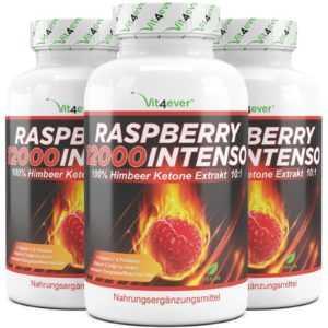 3x RASPBERRY 12000 INTENSO = 360 Kapseln - Himbeere Ketones - Fatburner Vegan