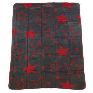 Wohndecke Kuscheldecke Sterne Big Star anthrazit grau rot