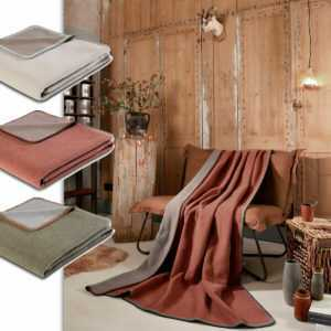 Biederlack Wohndecke mit 82% Schurwolle 150x200 cm Uni Decke
