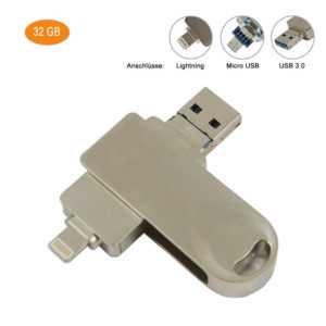 32GB 3in1 USB Stick (USB 3.0/Micro USB/Lightning) kompatibel mit iPhone Android