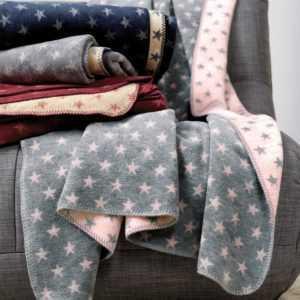 Ibena Jacquard Decke Boston aus baumwollmischung mit Sternen