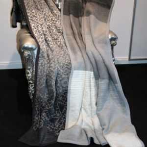 Ibena Wolldecke Heimdecke Decke Streifen Ornamente Anthrazit Grau