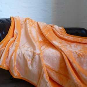 Kuscheldecke Tagesdecke Wohndecke Decke Glanz-Design orange