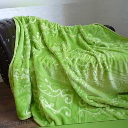 XXL Luxus Tagesdecke Kuscheldecke Wohndecke Decke Plaid hell grün