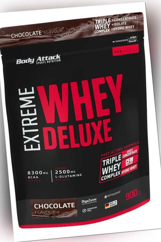 Body Attack Extreme Whey Deluxe 900g Beutel Aminosäuren BCAA Eiweiß Molke