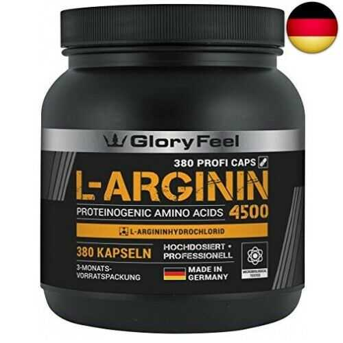 L-Arginin 380 Kapseln - Vergleichssieger 2019* - 4500mg L-Arginin HCL (3750mg