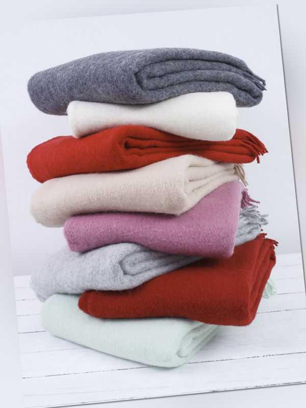 100% Lammwolle Wolldecke, Wollplaid, Kuscheldecke, Uni Farben