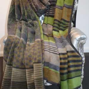 Ibena Wolldecke Heimdecke Decke Streifen Ornament Grün Grau150 x