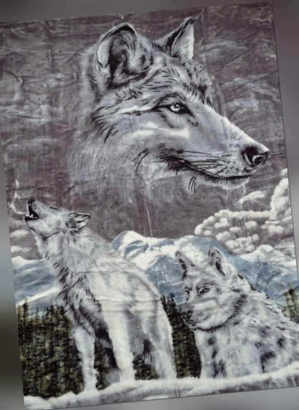XXL Tagesdecke Kuscheldecke Wohndecke Decke Plaid Wolf /