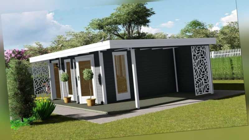Gartenhaus Flachdach Anbau, 4.5x3M + 90CM 28mm Blockhaus Holz Kiel EB28227OFOTL