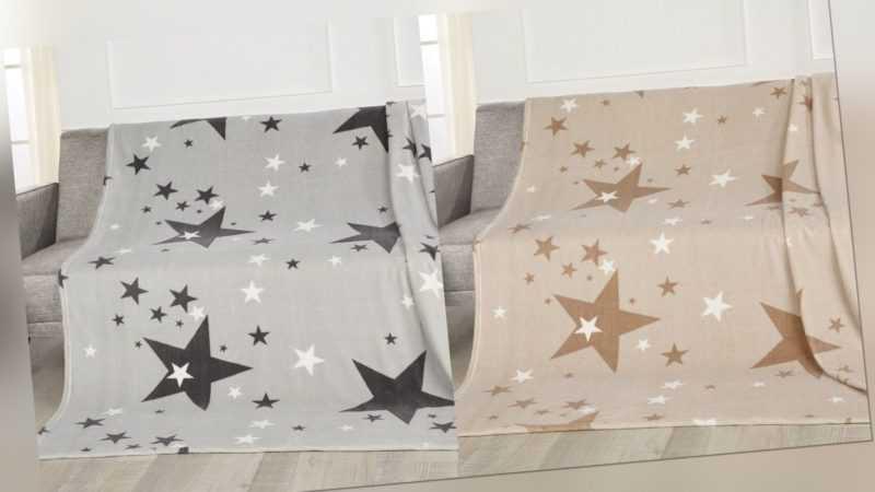 Gözze Kuscheldecke Plaid Überwurf Decke Couchdecke Stars / Sterne