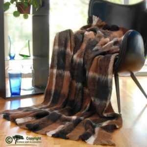 Wolldecke Alpaka super weich wie Kaschmir braun schwarz