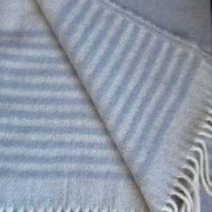 Wollplaid Silber Stereifen, Wolldecke Tagesdecke, 135x200cm 100%
