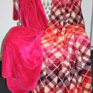 Ibena Wolldecke Heimdecke Decke Uni oder Karo  Pink Rot Orange