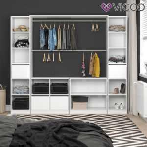 VICCO Kleiderschrank VISIT XXL offen begehbar Regal Kleiderständer Schrank weiß