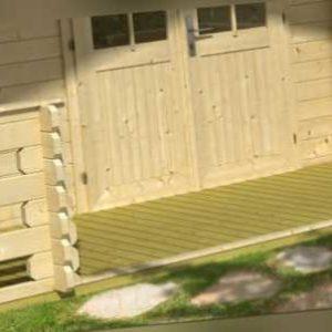 34 mm Terrasse 380x130 cm für Gartenhaus + Bodenbretter Geländer Gerätehaus