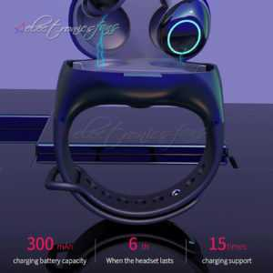 HM50 TWS BT 5.0 Earphone Wireless Portable Wristband Headset w/ Charging Box