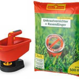 WOLF-Garten WE-B Universal-Streuer + SQ 500 Unkrautvernichter plus Rasendünger