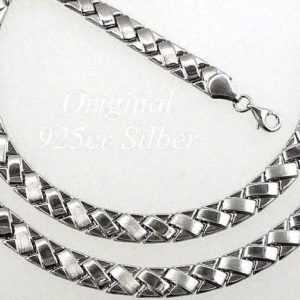 echt 925 Sterlingsilber silber Schmuck set Halskette & Armband kette