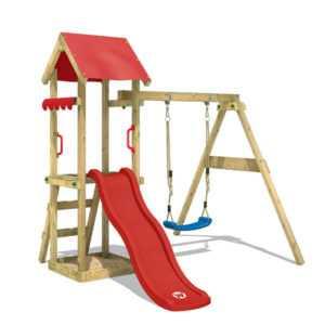 WICKEY Spielturm Klettergerüst TinyWave Holz Garten Schaukel Rote Rutsche
