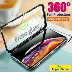 360° Glas Handyhülle Magnet Case Metall Bumper Fr iPhone 11 X XR XS Max 7 8 Plus