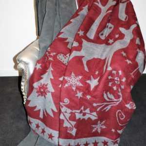 Ibena Wolldecke Heimdecke Decke Uni oder Motive Weihnacht Grau Rot