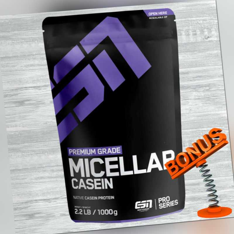 ESN Micellar Casein Protein 1000g Beutel + Bonus - 1kg Premium Eiweiß Pluver
