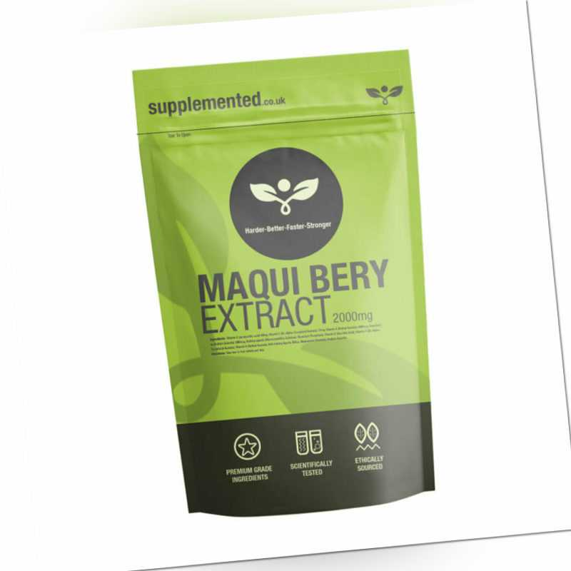 Maqui Beere 2000mg 180 Tabletten Antioxidant ✔ UK Hergestellt ✔ Briefkasten