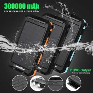 300000mAh Solar Powerbank Externer Batterie Ladegerät Zusatz Akku 2USB 2LED DHL
