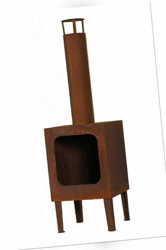 Gartenkamin Terrassenofen inkl. Rost Stahlblech Rostoptik H 115 cm N-GK-188R