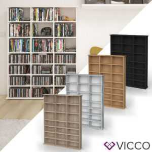 VICCO Medienregal JUKEBOX CD DVD Bluray Regal Standregal Regalwand Bücherregal