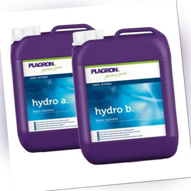 je 5L Plagron Hydro A & B Hydro Dünger für Hydrosysteme Indoor Grow Anzucht