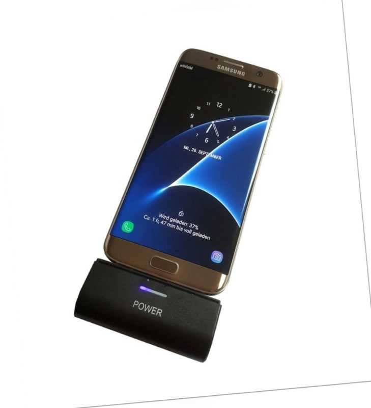 USB Micro Power Bank Zusatz Notfall Externer Akku Schnell Ladegerät für Samsung