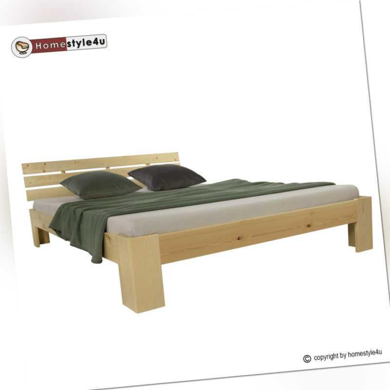 Doppelbett Holzbett Futonbett 180x200 natur Kiefer Bett Bettgestell Massivholz