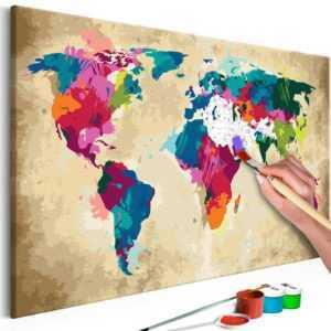Malen nach Zahlen Erwachsene Wandbild 60x40 cm Malvorlage Weltkarte n-A-0275-d-a