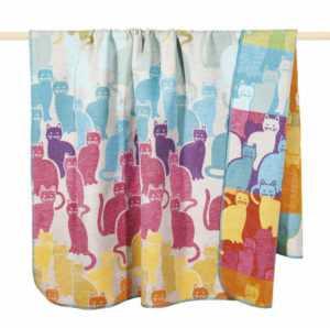 """PAD Decke """"Cats"""" Katzen multicolour gemustert Kuscheldecke"""