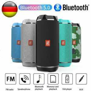 Bluetooth Lautsprecher Tragbarer Musik box Stereo Wireless Subwoofer FM SD AUX