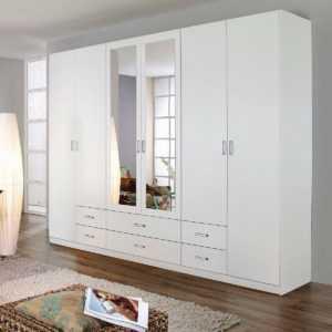 Kleiderschrank Schlafzimmer Gammas 6-türig weiß mit Schubkästen Spiegel