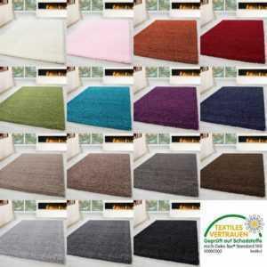 Shaggy Hochflor Langflor Teppich Läufer Wohnzimmer Soft Einfarbig Rechteck Rund