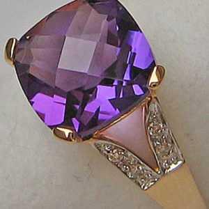 Meeeega ♛ Ring aus 14kt 585 Gold mit Diamant Brillant Top Amethyst Ametist neu ♛