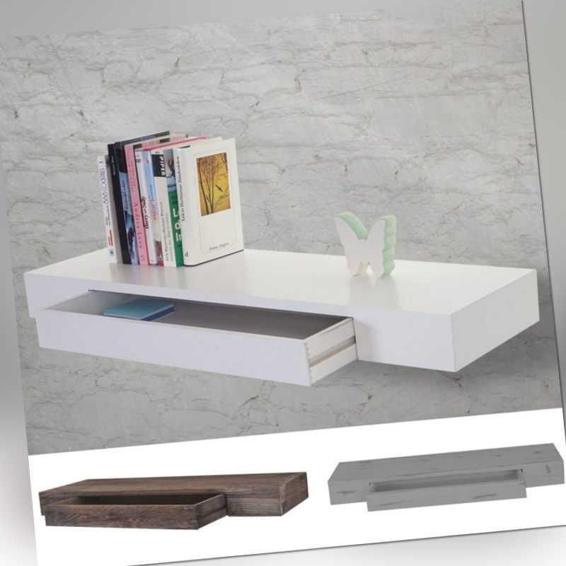 Wandregal Oise, Hängeregal Regal, 80cm Schublade Shabby-Look/weiß