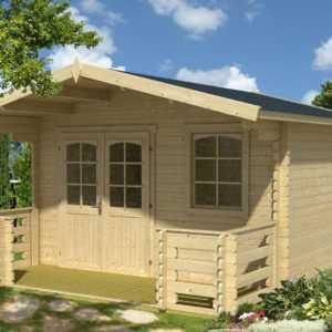 34 mm Gartenhaus + Terrasse 380x510 cm Gerätehaus Blockhaus Holzhaus Holz Hütte