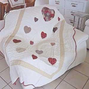Tagesdecke Quilt Patchwork Bett Sessel Überwurf 140x220cm Herzen