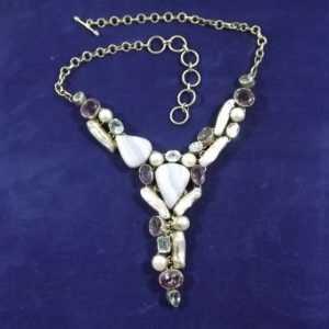 293/ einzigartiges Collier Silber 925 Perle Achat Amethyst Blautopas Handarbeit