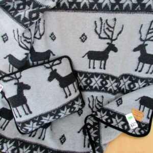 Wolldecke mit Kissen  Set 100% Wolle  150x200 / 40x40