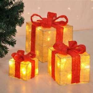 LED Geschenkbox Weihnachten Beleuchtete Geschenkboxen Weihnachtsdeko 3er Set