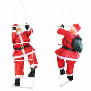 Weihnachtsmann auf Leiter 180cm Weihnachts Deko Weihnachten Figur Nikolaus