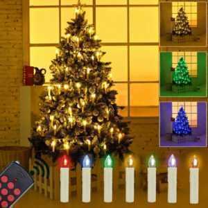 50 Kabellose LED Weihnachtskerzen Weihnachtsbaum beleuchtung Kerzen Lichterkette