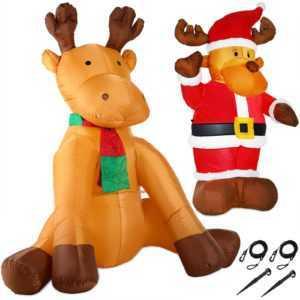 Riesiges Rentier aufblasbar LED beleuchtet XXL Deko Weihnachten Figur Elch